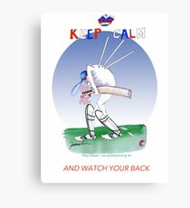 English Cricket Keep Calm and watch your back Canvas Print