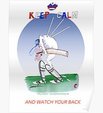 English Cricket Keep Calm and watch your back Poster