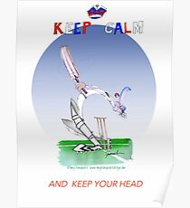 English Cricket Keep Calm and keep your head Poster