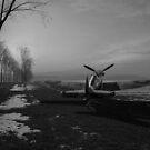 Spitfire in winter B&W version by Gary Eason