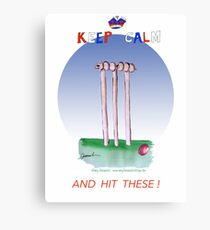 English Cricket Keep Calm and hit these Canvas Print
