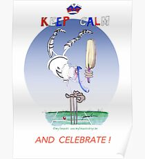 English Cricket Keep Calm and Celebrate Poster