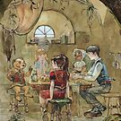 Lucy, Susan, Peter and the Beaver are talking about Aslan by Natalya   Tabatchikova