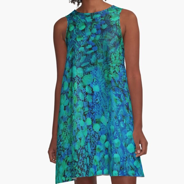 Peacock Watercolor Painting A-Line Dress