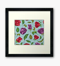 Floral Purple and Red Tulips on Blue Background Framed Print