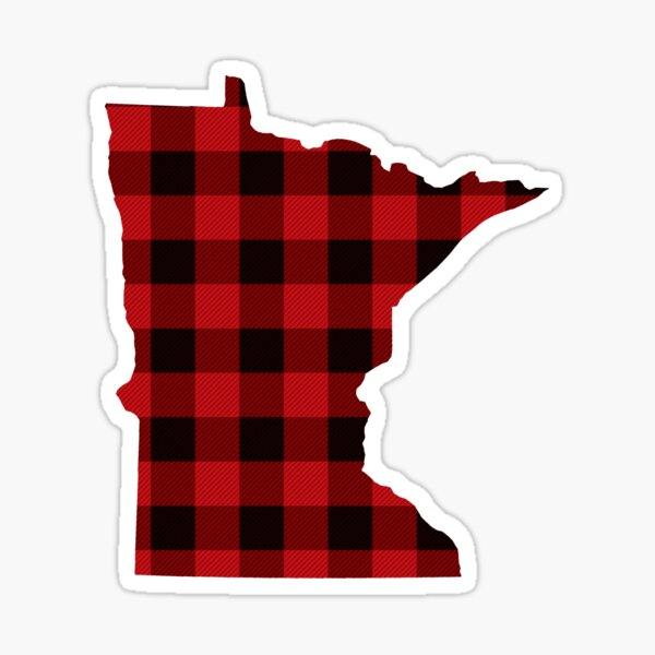 Red Plaid Minnesota Sticker