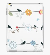 Graphic Birds and Flowers on a Wire iPad Case/Skin