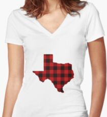 Red Plaid Texas Women's Fitted V-Neck T-Shirt