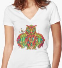 Owl, cool art from the AlphaPod Collection Women's Fitted V-Neck T-Shirt