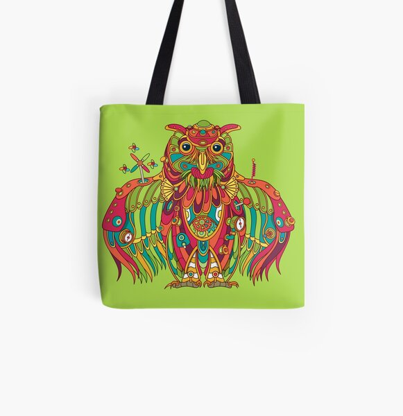 Owl, cool art from the AlphaPod Collection All Over Print Tote Bag