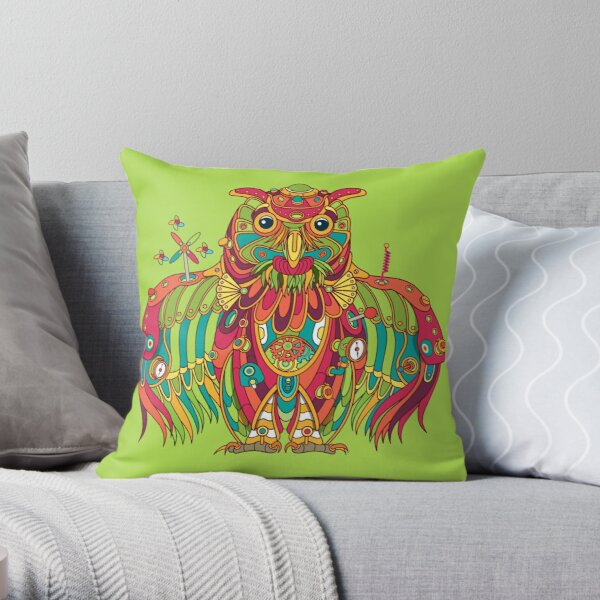 Owl, cool art from the AlphaPod Collection Throw Pillow