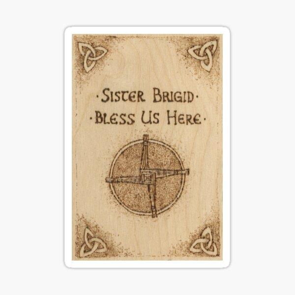 Brigid's Cross Blessing Woodburned Plaque Sticker