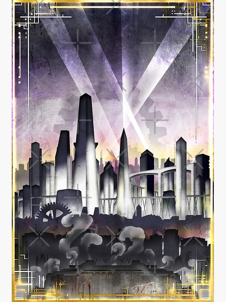 Art Deco Metropolis - Steampunk Vintage City Skyline by forge22