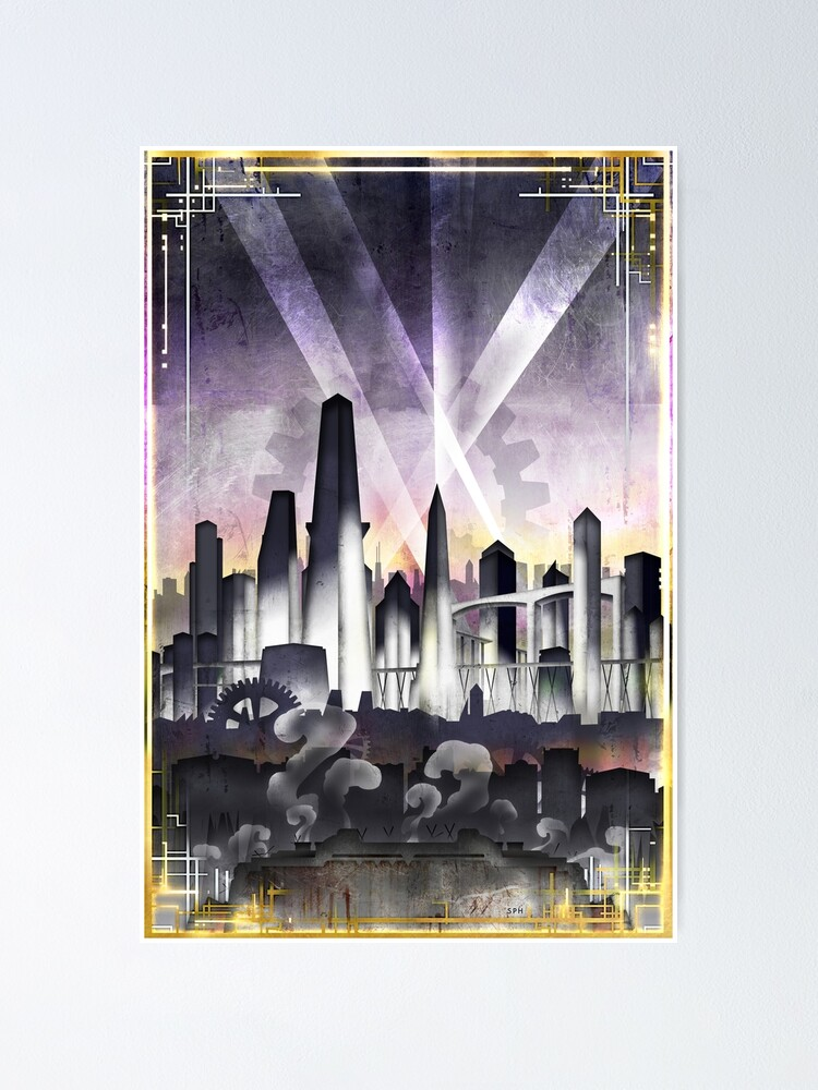 Alternate view of Art Deco Metropolis - Steampunk Vintage City Skyline Poster