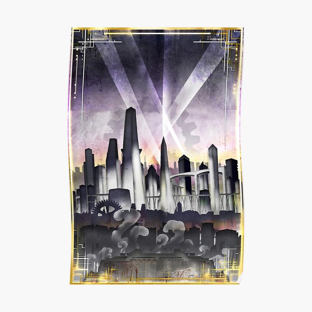 Art Deco Metropolis - Steampunk Vintage City Skyline Poster