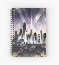 Art Deco Metropolis - Steampunk Vintage City Skyline Spiral Notebook