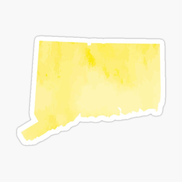 Yellow Watercolor Connecticut Sticker