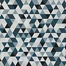 Sea Blue and Grey / Gray - Hipster Geometric Triangle Pattern  by DesignByLang