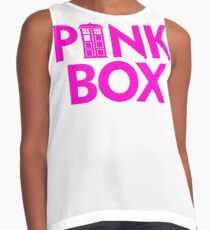 DOCTOR 13 PINK BOX TIME LADY MALE FEMALE TIME SYMBOL POLICE BOX TEE Contrast Tank