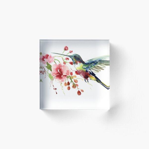 Hummingbird and Flowers Acrylic Block