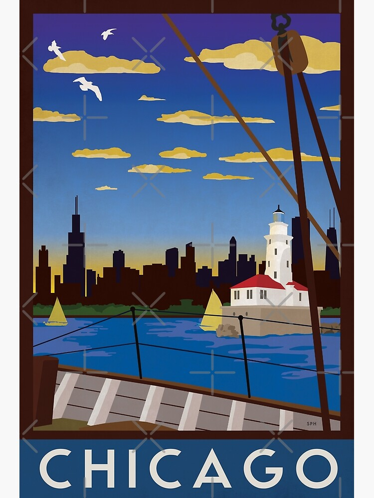 Chicago - Art Deco Retro Lake Michigan Travel Poster by forge22