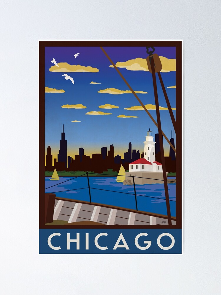 Alternate view of Chicago - Art Deco Retro Lake Michigan Travel Poster Poster