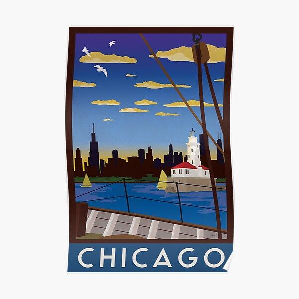 Chicago - Art Deco Retro Lake Michigan Travel Poster Poster