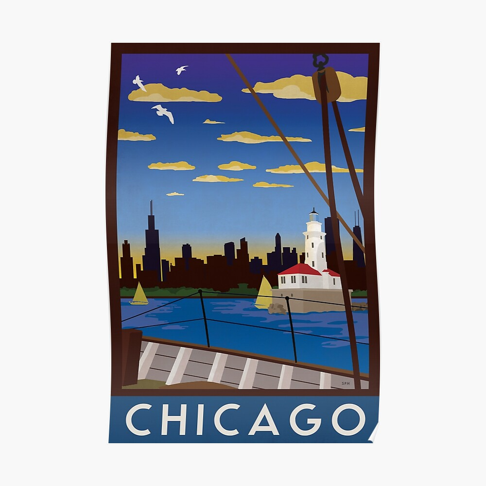 Chicago - Art Deco Retro Lake Michigan Travel Poster Poster