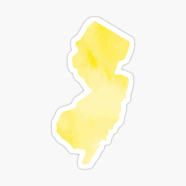 Yellow Watercolor New Jersey Sticker