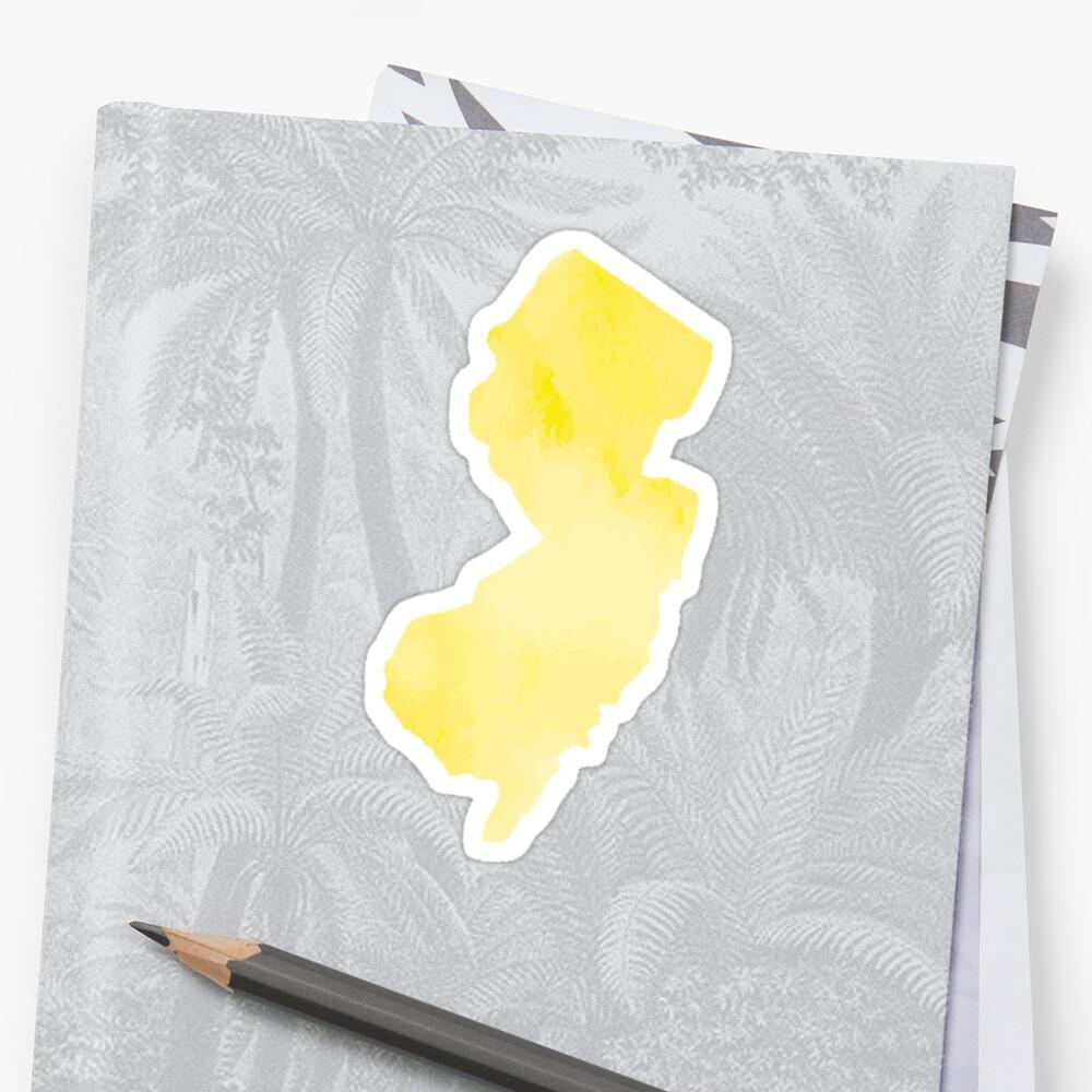 Gelbes Aquarell New-Jersey Sticker