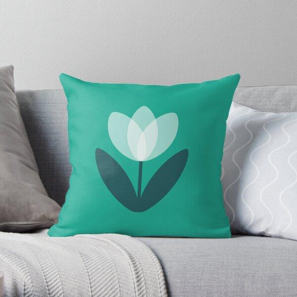 Retro Tulip in Teal Green Throw Pillow