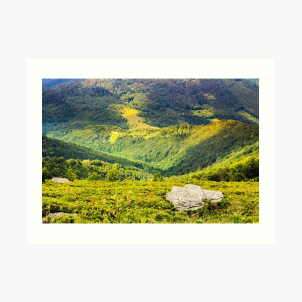 hillside with stones in high mountains Art Print