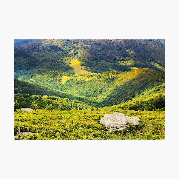 hillside with stones in high mountains Photographic Print