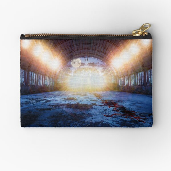 dance place in abandoned hangar at night Zipper Pouch
