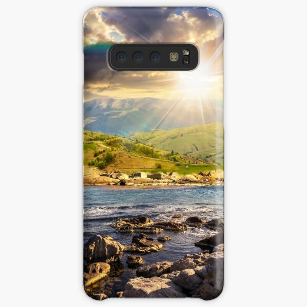 village near lake in mountains at sunset Samsung Galaxy Snap Case