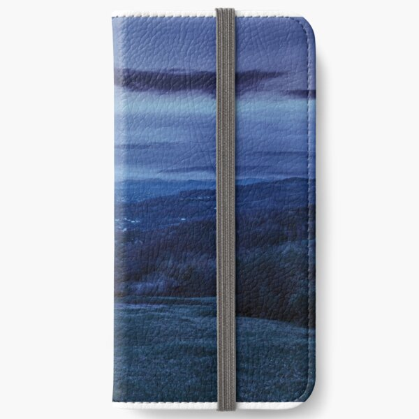 panorama of apple orchard on hillside at night iPhone Wallet