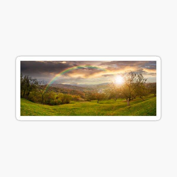 panorama of apple orchard on hillside at sunset Sticker