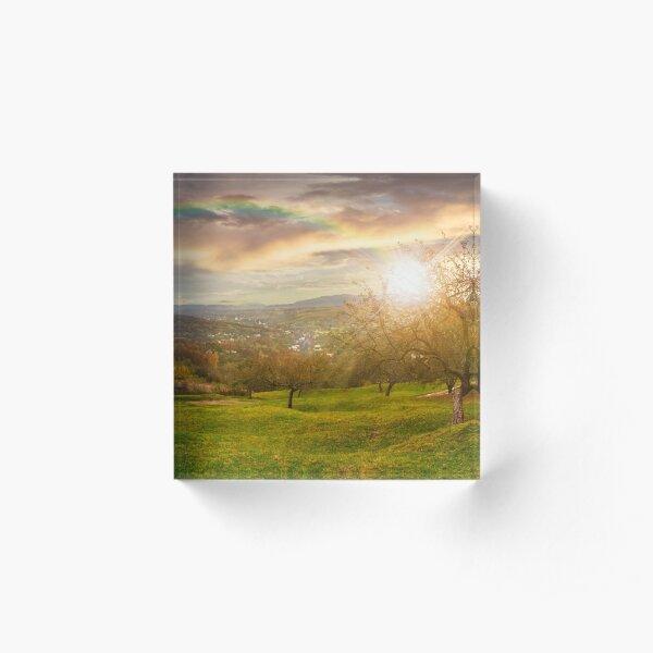 panorama of apple orchard on hillside at sunset Acrylic Block