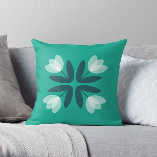 Tulips from Amsterdam in Teal Green Throw Pillow