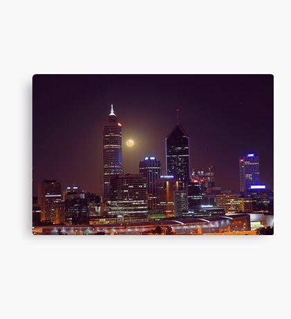 Moonrise Over Perth City  Canvas Print