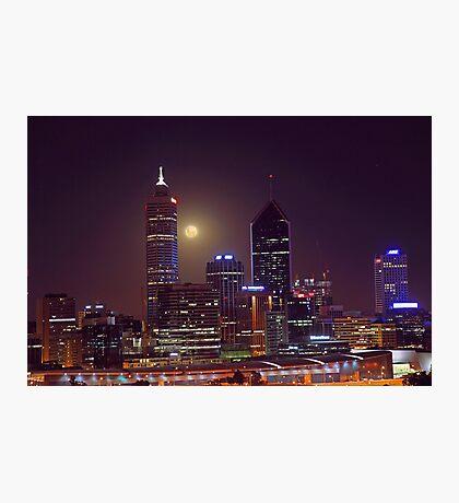 Moonrise Over Perth City  Photographic Print