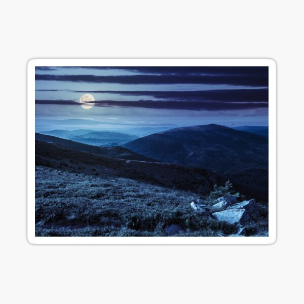 hillside with stones in high mountains at night  Sticker