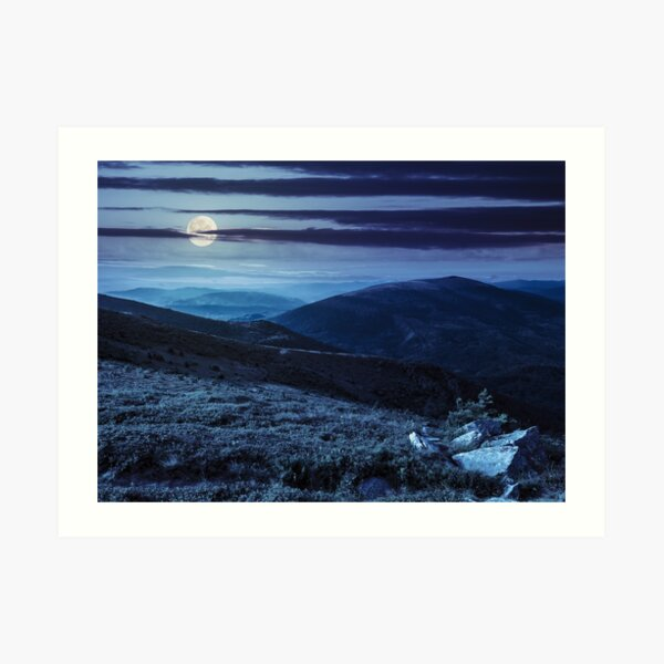 hillside with stones in high mountains at night  Art Print