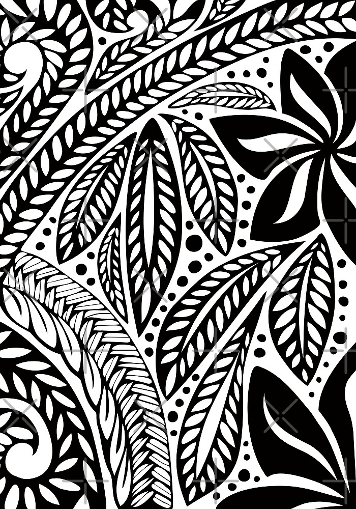 d4e1b71fe Black Polynesian flower floral tattoo design over white background by  Ayelet Fleming