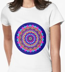 Psychedelic Mandala Neon Pink Cyan  Women's Fitted T-Shirt