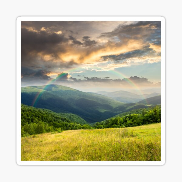 meadow in high mountains Sticker
