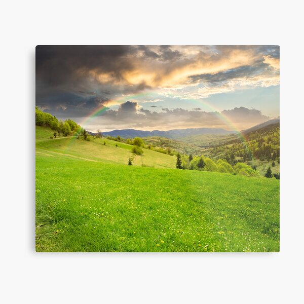 village on hillside meadow Metal Print