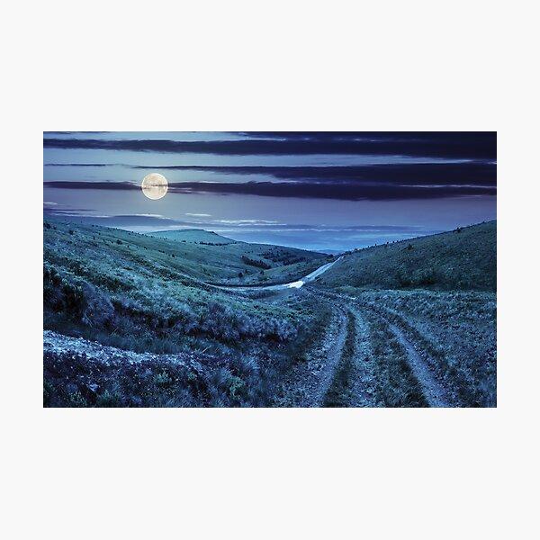 path through highland meadows at night Photographic Print