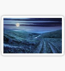 path through highland meadows at night Sticker