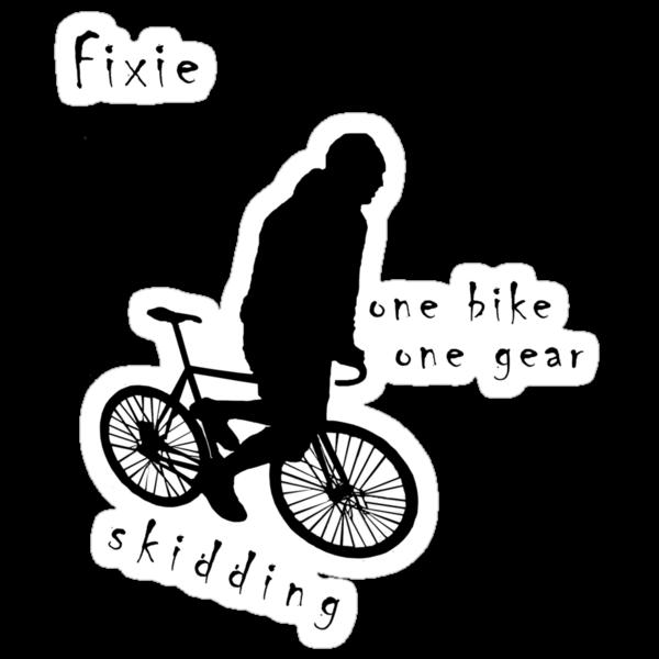 Fixie - one bike one gear - skidding (black) by Stefan Trenker